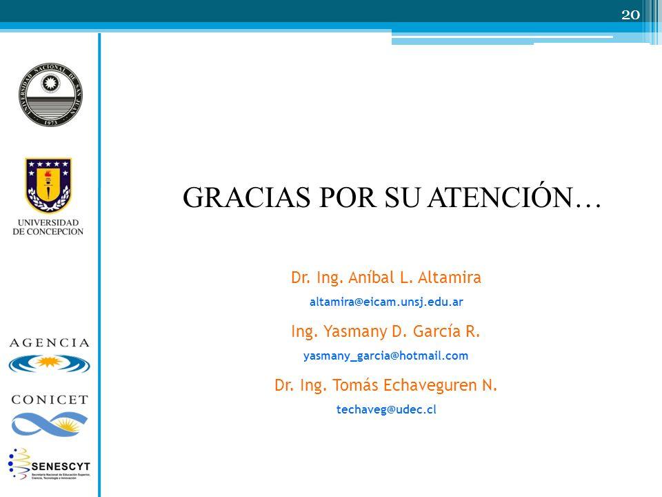 GRACIAS POR SU ATENCIÓN… 20 Dr. Ing. Aníbal L. Altamira altamira@eicam.unsj.edu.ar Ing. Yasmany D. García R. yasmany_garcia@hotmail.com Dr. Ing. Tomás