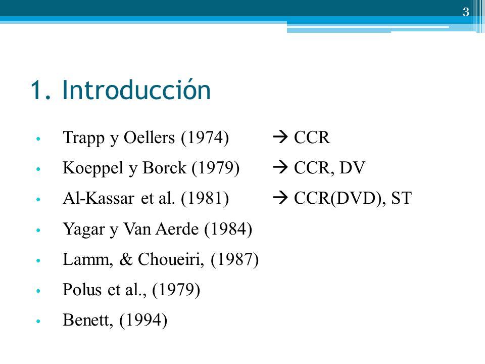 1. Introducción Trapp y Oellers (1974) CCR Koeppel y Borck (1979) CCR, DV Al-Kassar et al. (1981) CCR(DVD), ST Yagar y Van Aerde (1984) Lamm, & Chouei
