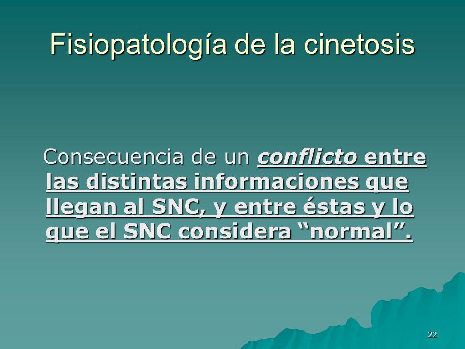22 Fisiopatología de la cinetosis Consecuencia de un conflicto entre las distintas informaciones que llegan al SNC, y entre éstas y lo que el SNC cons