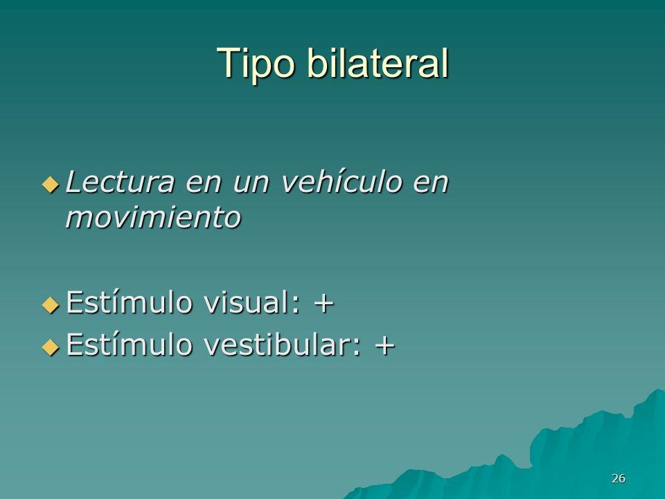 26 Tipo bilateral Lectura en un vehículo en movimiento Lectura en un vehículo en movimiento Estímulo visual: + Estímulo visual: + Estímulo vestibular: