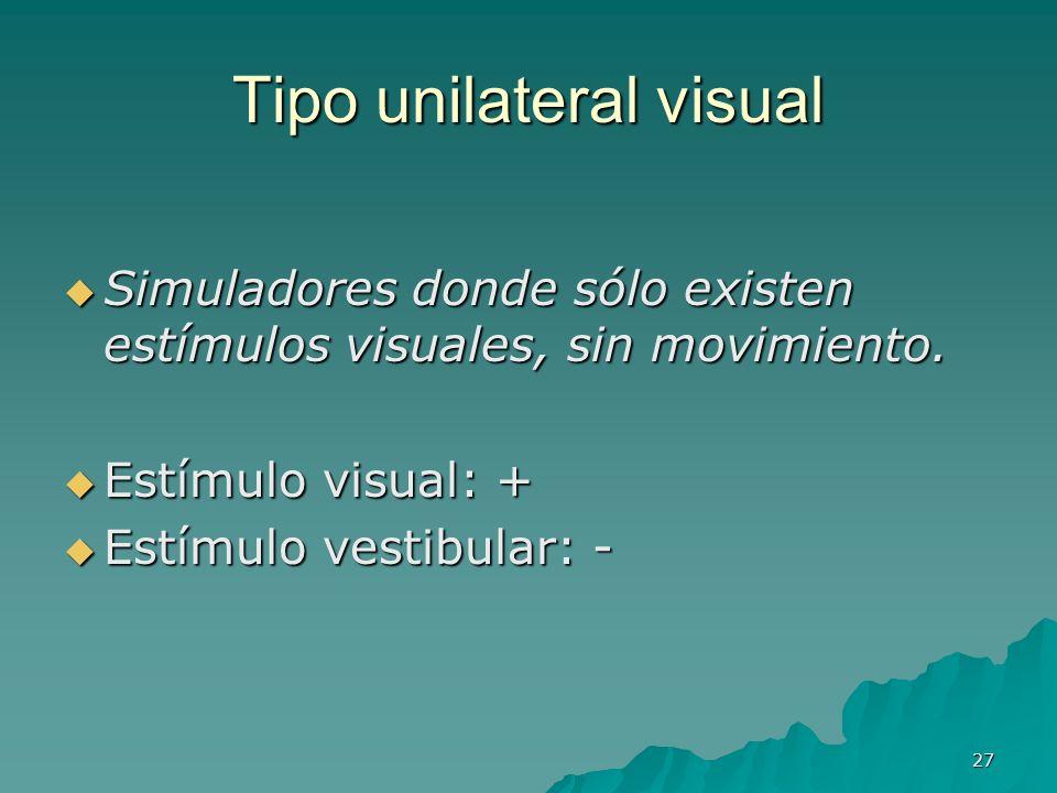27 Tipo unilateral visual Simuladores donde sólo existen estímulos visuales, sin movimiento. Simuladores donde sólo existen estímulos visuales, sin mo