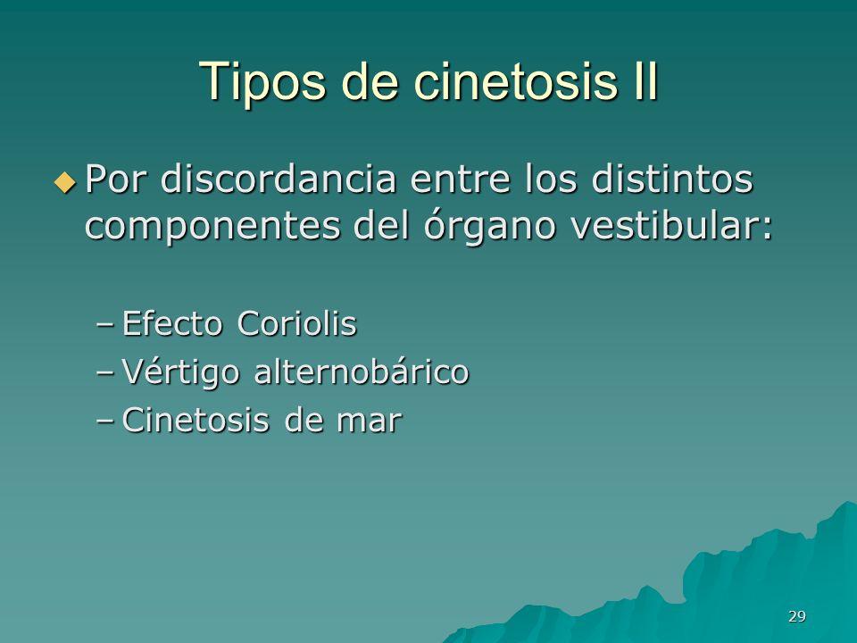 29 Tipos de cinetosis II Por discordancia entre los distintos componentes del órgano vestibular: Por discordancia entre los distintos componentes del