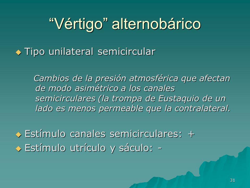 31 Vértigo alternobárico Tipo unilateral semicircular Tipo unilateral semicircular Cambios de la presión atmosférica que afectan de modo asimétrico a