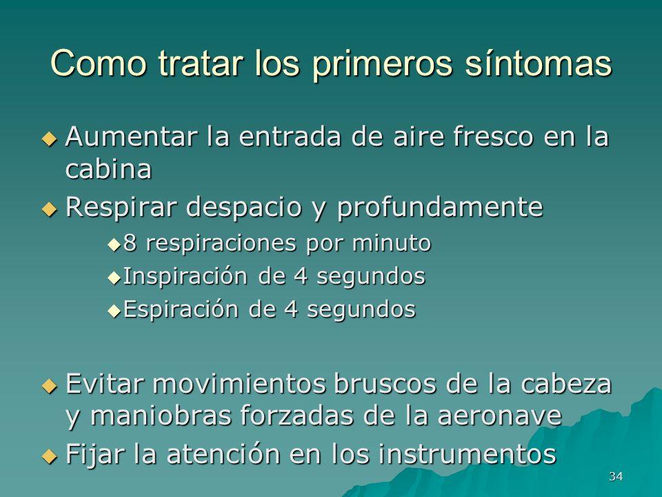 34 Como tratar los primeros síntomas Aumentar la entrada de aire fresco en la cabina Aumentar la entrada de aire fresco en la cabina Respirar despacio