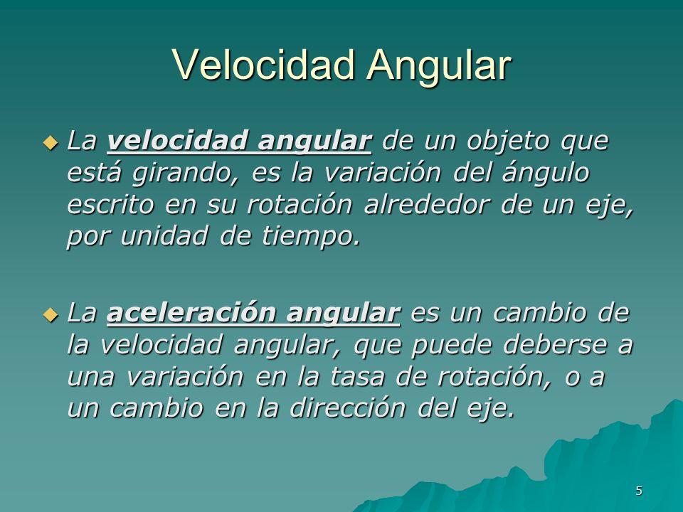 5 Velocidad Angular La velocidad angular de un objeto que está girando, es la variación del ángulo escrito en su rotación alrededor de un eje, por uni
