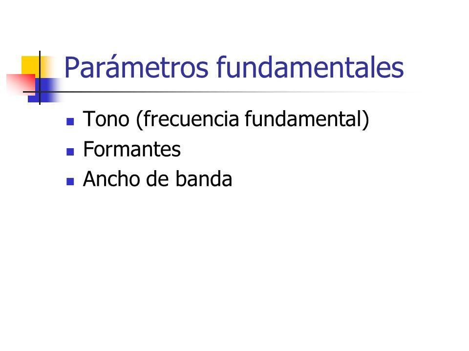 Parámetros fundamentales Tono (frecuencia fundamental) Formantes Ancho de banda