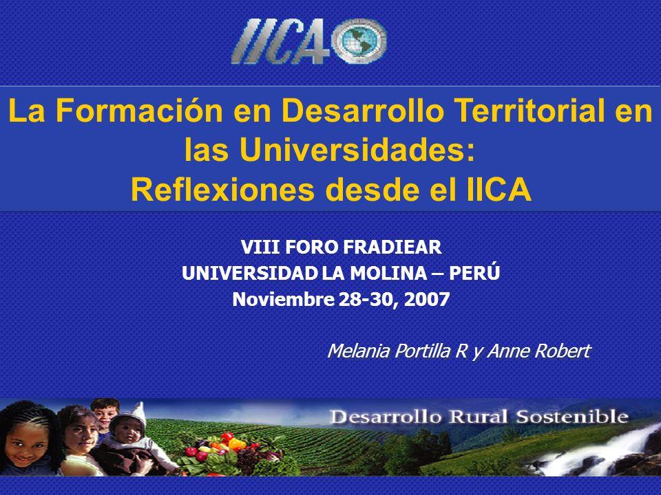 La Formación en Desarrollo Territorial en las Universidades: Reflexiones desde el IICA VIII FORO FRADIEAR UNIVERSIDAD LA MOLINA – PERÚ Noviembre 28-30, 2007 Melania Portilla R y Anne Robert