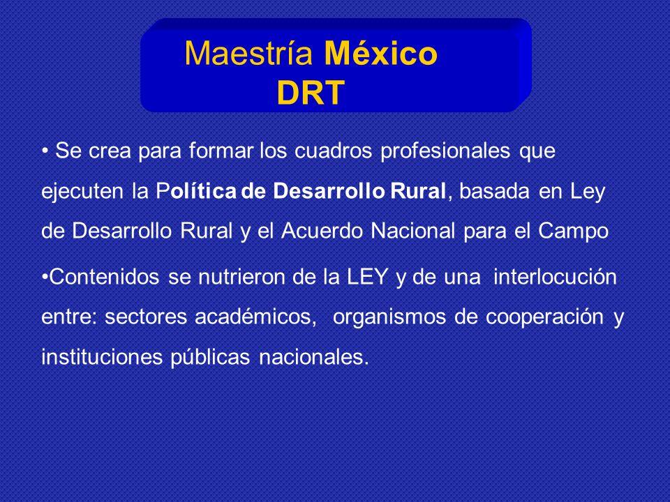 Maestría México DRT Se crea para formar los cuadros profesionales que ejecuten la Política de Desarrollo Rural, basada en Ley de Desarrollo Rural y el Acuerdo Nacional para el Campo Contenidos se nutrieron de la LEY y de una interlocución entre: sectores académicos, organismos de cooperación y instituciones públicas nacionales.
