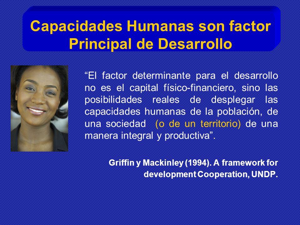 El factor determinante para el desarrollo no es el capital físico-financiero, sino las posibilidades reales de desplegar las capacidades humanas de la población, de una sociedad (o de un territorio) de una manera integral y productiva.