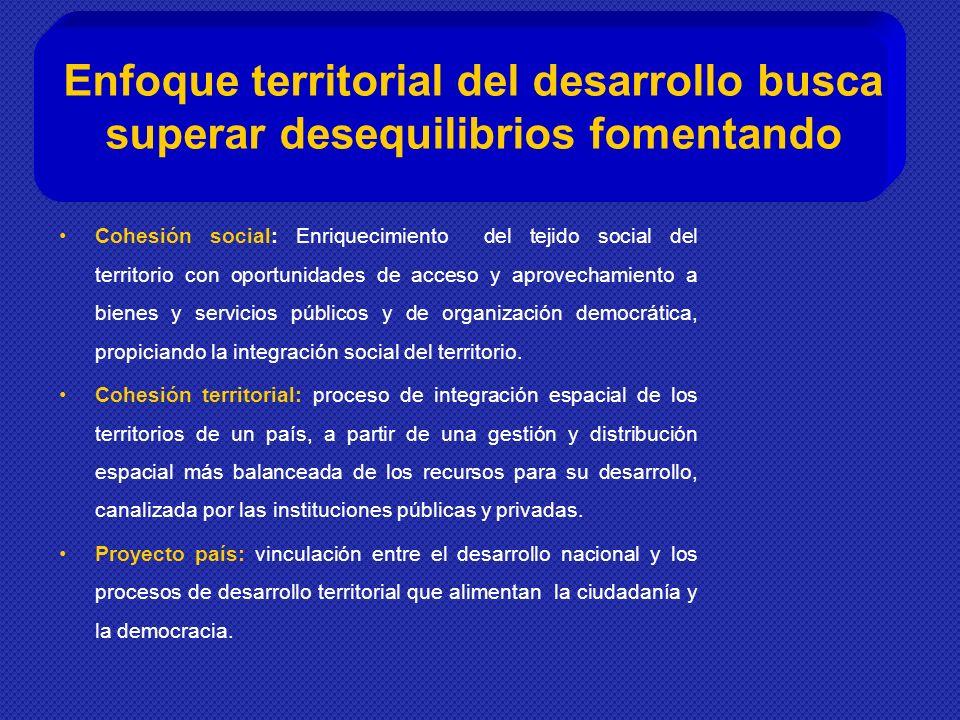 Cohesión social: Enriquecimiento del tejido social del territorio con oportunidades de acceso y aprovechamiento a bienes y servicios públicos y de organización democrática, propiciando la integración social del territorio.