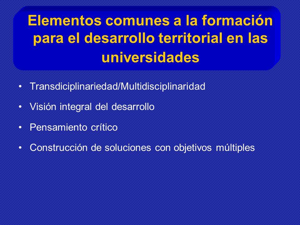 Elementos comunes a la formación para el desarrollo territorial en las universidades Transdiciplinariedad/Multidisciplinaridad Visión integral del desarrollo Pensamiento crítico Construcción de soluciones con objetivos múltiples