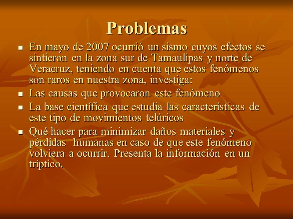 Problemas En mayo de 2007 ocurrió un sismo cuyos efectos se sintieron en la zona sur de Tamaulipas y norte de Veracruz, teniendo en cuenta que estos f