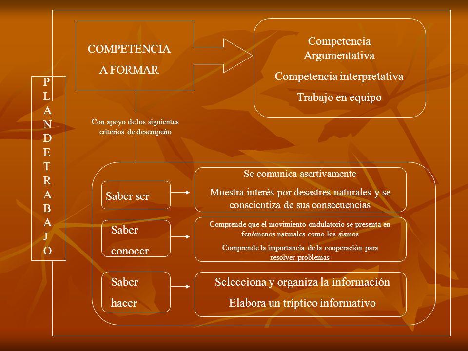 Con apoyo de los siguientes criterios de desempeño COMPETENCIA A FORMAR PLANDETRABAJOPLANDETRABAJO Saber ser Saber conocer Saber hacer Competencia Arg