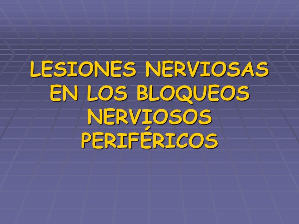PROTOCOLOS DE ACTUACIÓN SOSPECHA DÉFICIT NEUROLÓGICO TRAS ANESTESIA REGIONAL Examen clínico SOSPECHA LESIÓN NERVIOSA CENTRAL SOSPECHA LESIÓN NERVIOSA PERIFÉRICA TAC o RNM Tratamiento médico o quirúrgico ECOGRAFÍA o RNM o test de sudor ELECTRONEUROGRAFÍA PESS o PEM normal anormal repetir en 1 mes normalanormal repetir en 3-4 semrepetir en 1 mes normalanormal repetir en 3 meses patológico