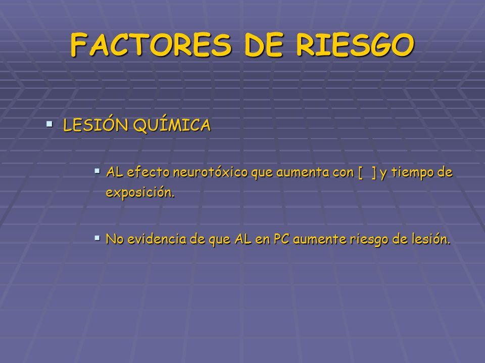 FACTORES DE RIESGO LESIÓN QUÍMICA LESIÓN QUÍMICA AL efecto neurotóxico que aumenta con [ ] y tiempo de exposición. AL efecto neurotóxico que aumenta c