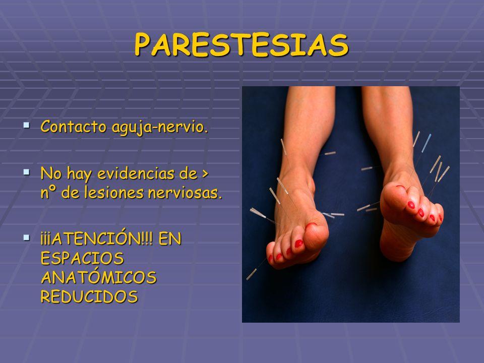 PARESTESIAS Contacto aguja-nervio. Contacto aguja-nervio. No hay evidencias de > nº de lesiones nerviosas. No hay evidencias de > nº de lesiones nervi