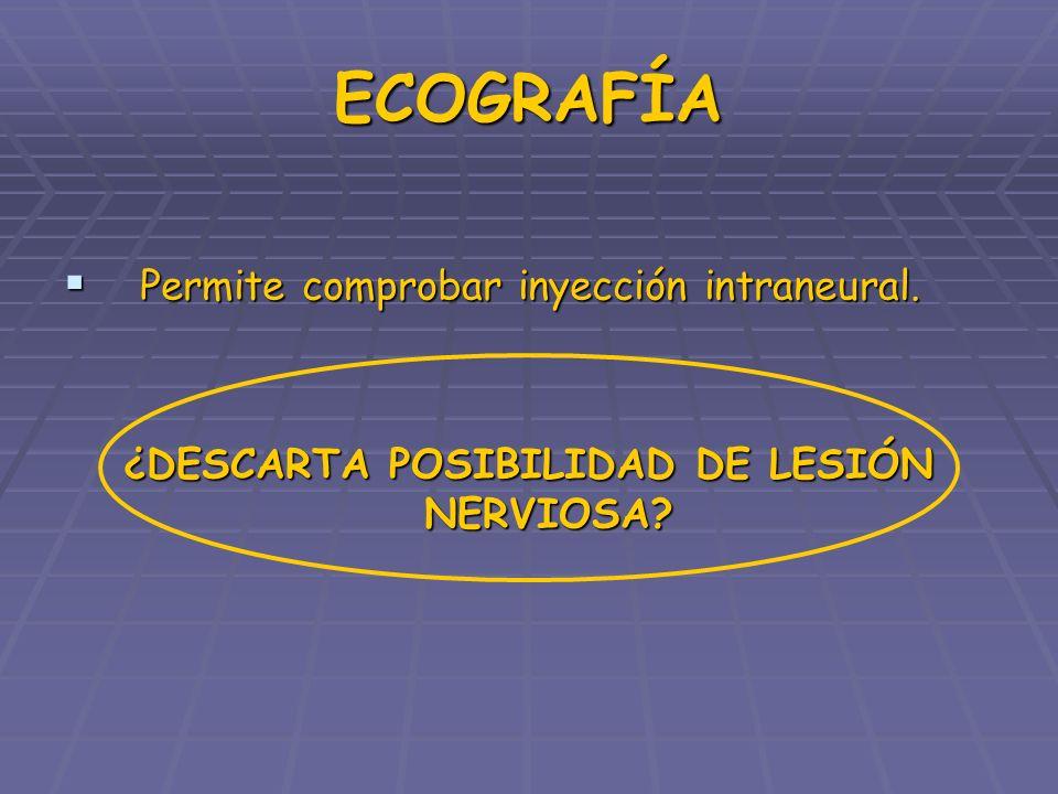 ECOGRAFÍA Permite comprobar inyección intraneural. Permite comprobar inyección intraneural. ¿DESCARTA POSIBILIDAD DE LESIÓN NERVIOSA?