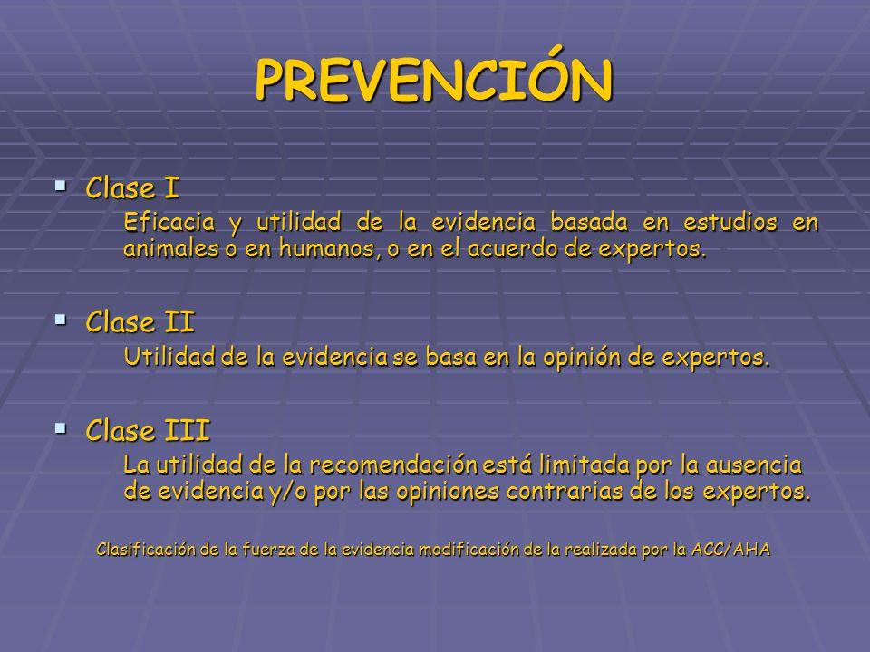 PREVENCIÓN Clase I Clase I Eficacia y utilidad de la evidencia basada en estudios en animales o en humanos, o en el acuerdo de expertos. Clase II Clas