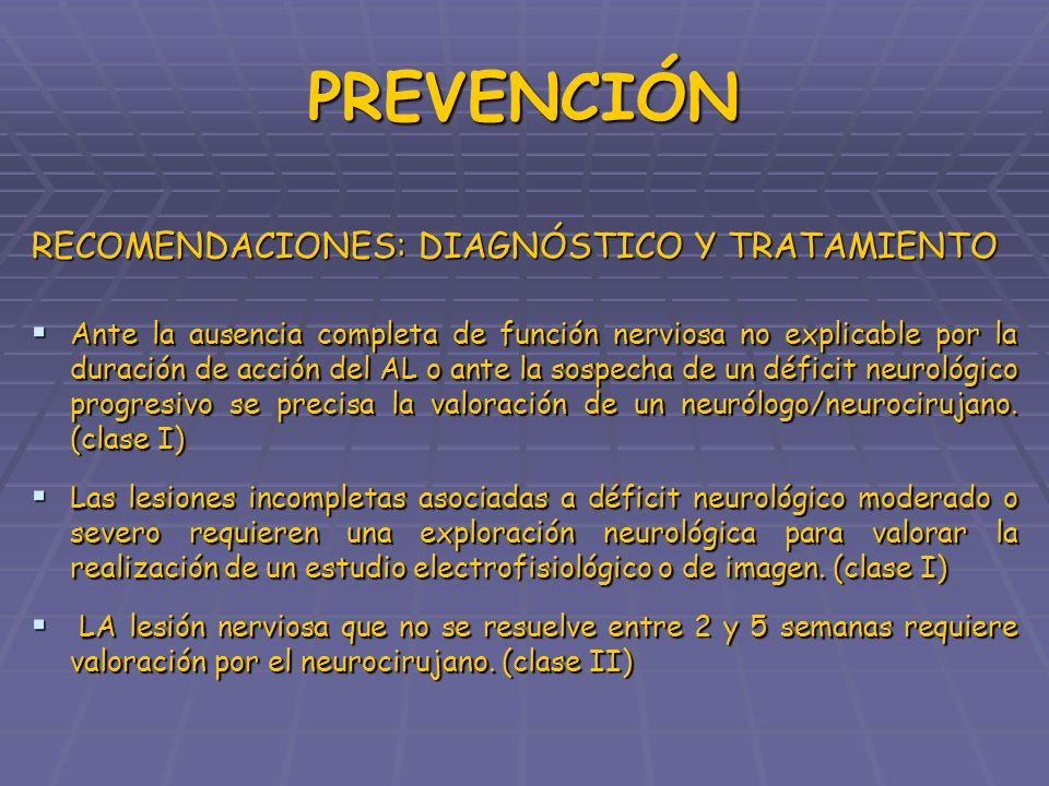PREVENCIÓN RECOMENDACIONES: DIAGNÓSTICO Y TRATAMIENTO Ante la ausencia completa de función nerviosa no explicable por la duración de acción del AL o a