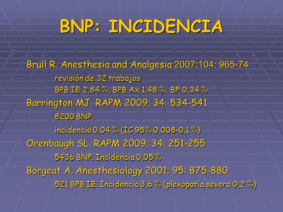 BNP: INCIDENCIA Brull R. Anesthesia and Analgesia 2007;104: 965-74 revisión de 32 trabajos BPB IE 2,84 %, BPB Ax 1,48 %, BF 0,34 % Barrington MJ. RAPM