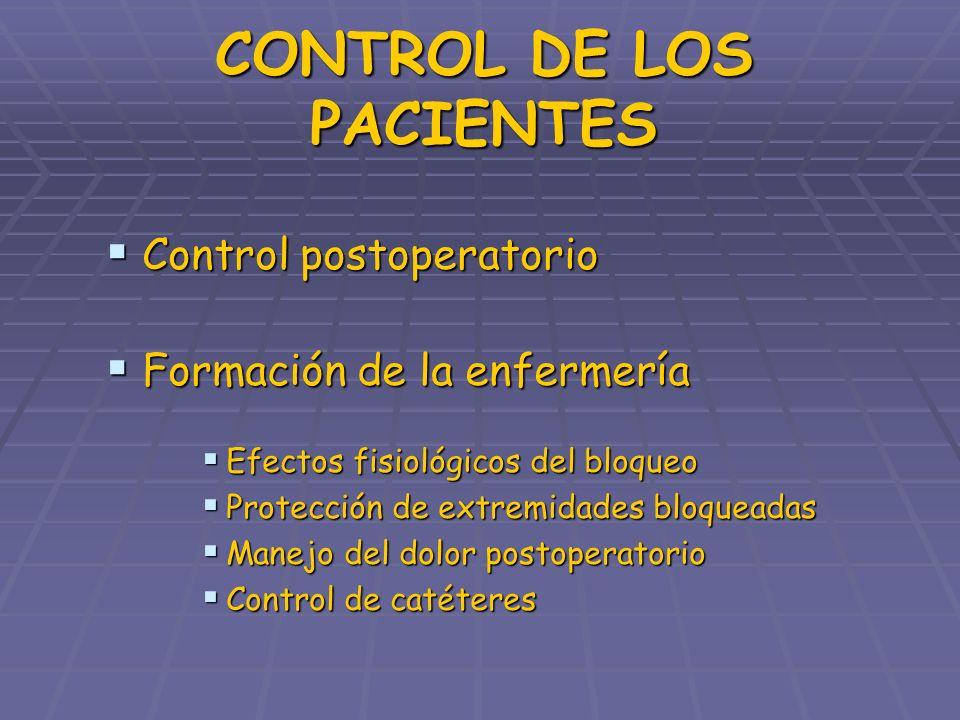 CONTROL DE LOS PACIENTES Control postoperatorio Control postoperatorio Formación de la enfermería Formación de la enfermería Efectos fisiológicos del