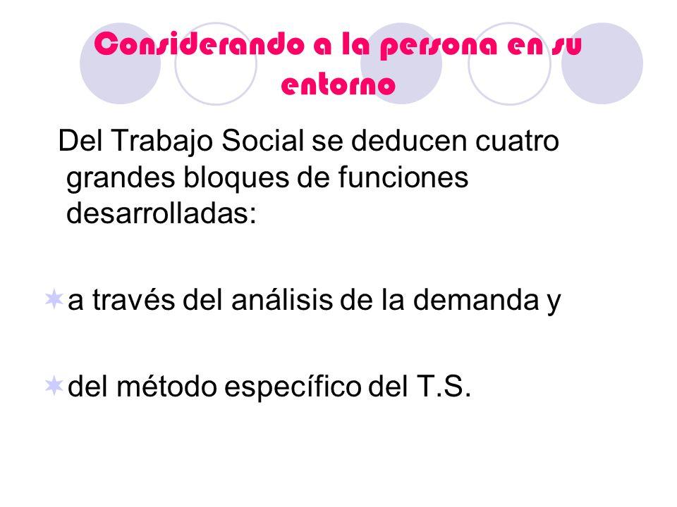 Considerando a la persona en su entorno Del Trabajo Social se deducen cuatro grandes bloques de funciones desarrolladas: a través del análisis de la d