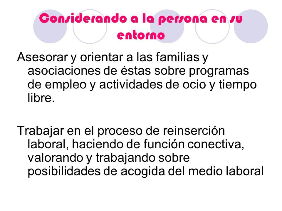 Considerando a la persona en su entorno Asesorar y orientar a las familias y asociaciones de éstas sobre programas de empleo y actividades de ocio y t