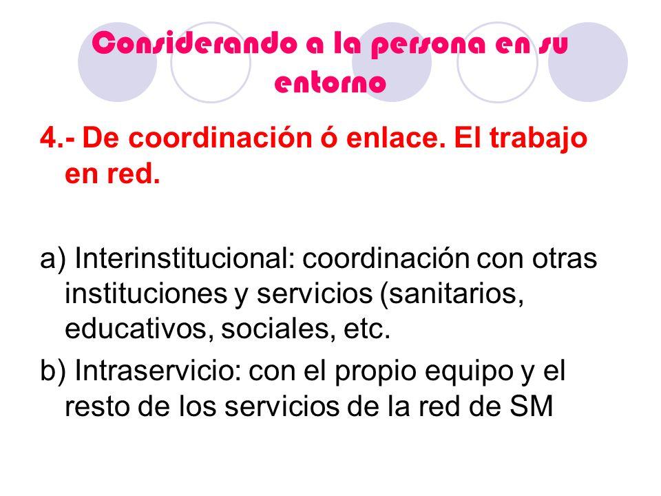 Considerando a la persona en su entorno 4.- De coordinación ó enlace. El trabajo en red. a) Interinstitucional: coordinación con otras instituciones y