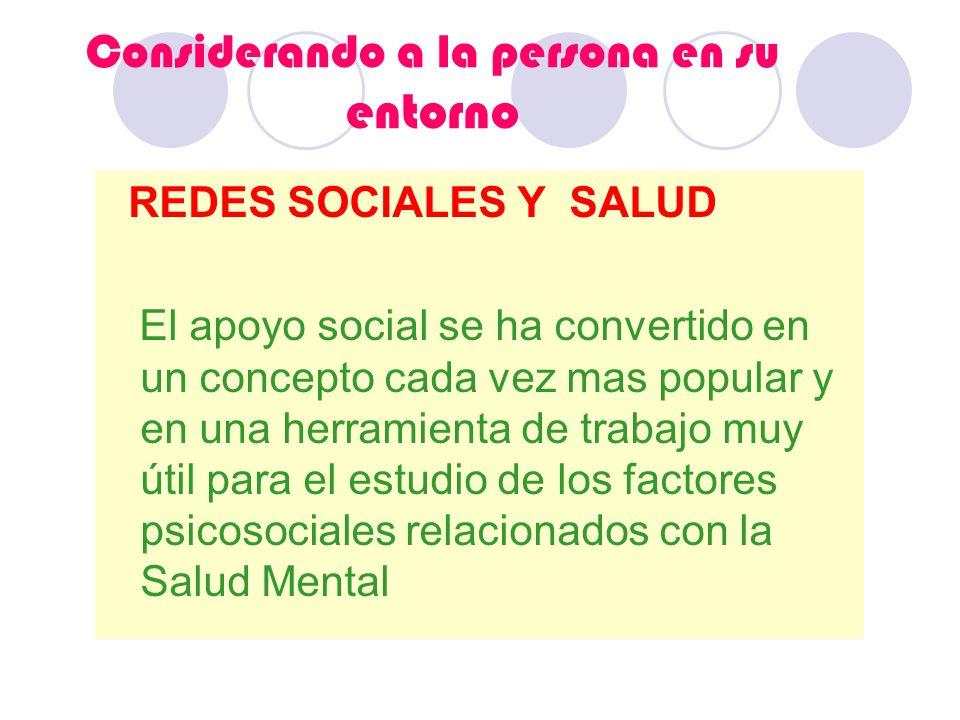 Considerando a la persona en su entorno REDES SOCIALES Y SALUD El apoyo social se ha convertido en un concepto cada vez mas popular y en una herramien