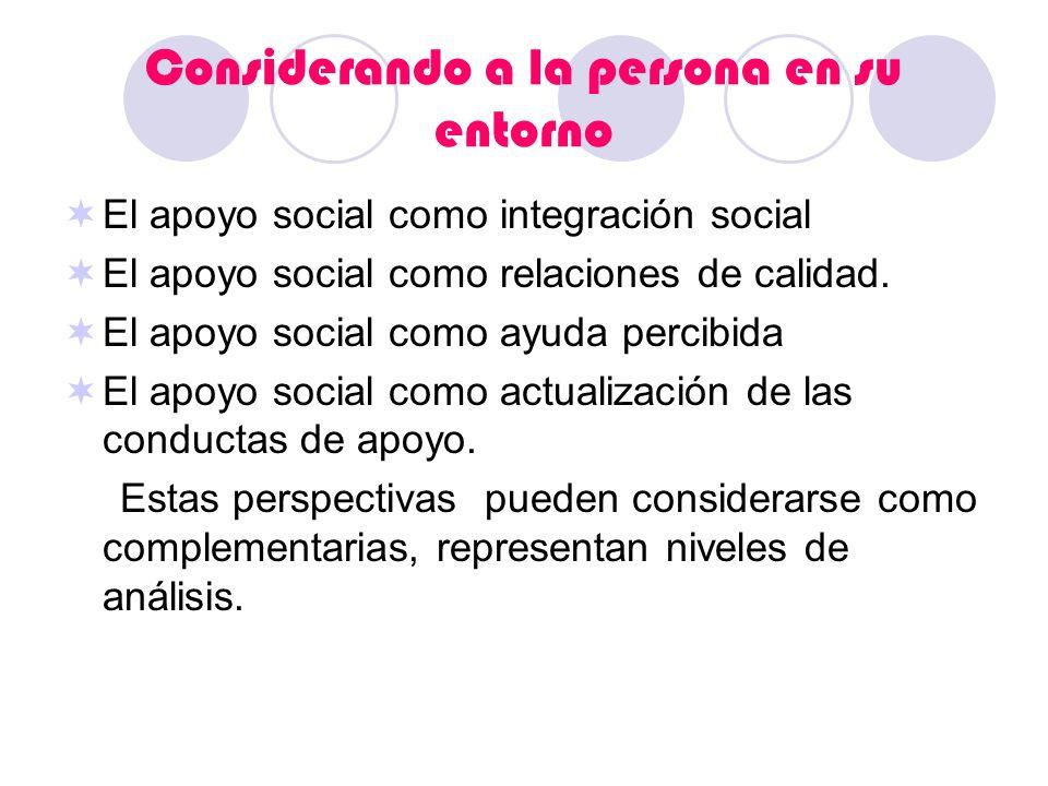 Considerando a la persona en su entorno El apoyo social como integración social El apoyo social como relaciones de calidad. El apoyo social como ayuda