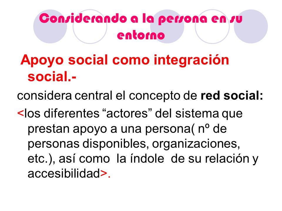 Considerando a la persona en su entorno Apoyo social como integración social.- considera central el concepto de red social:.