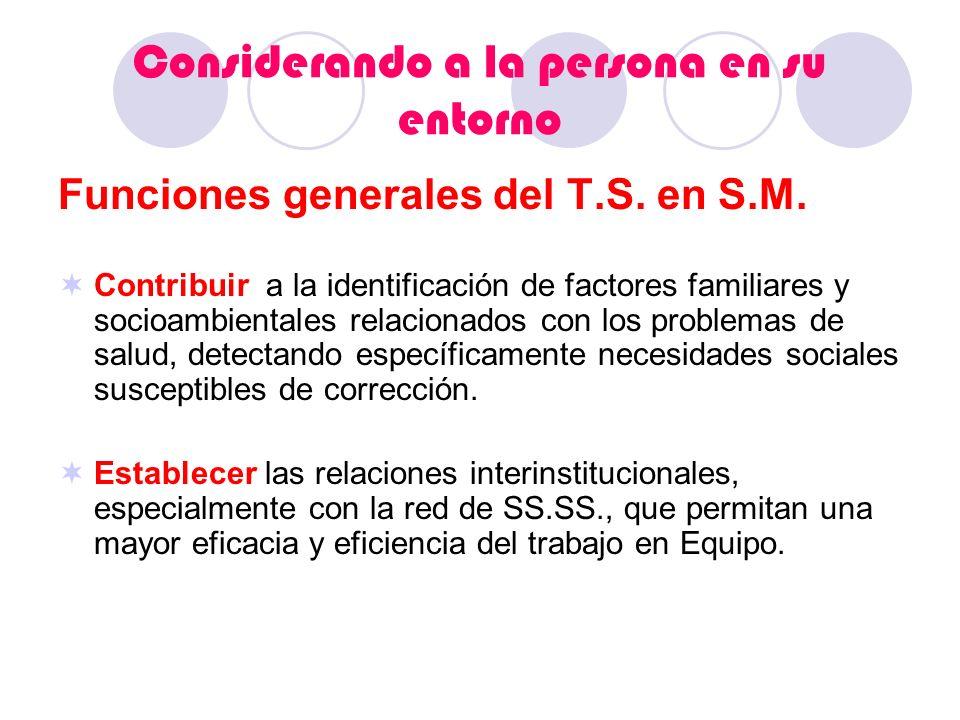 Considerando a la persona en su entorno Funciones generales del T.S. en S.M. Contribuir a la identificación de factores familiares y socioambientales