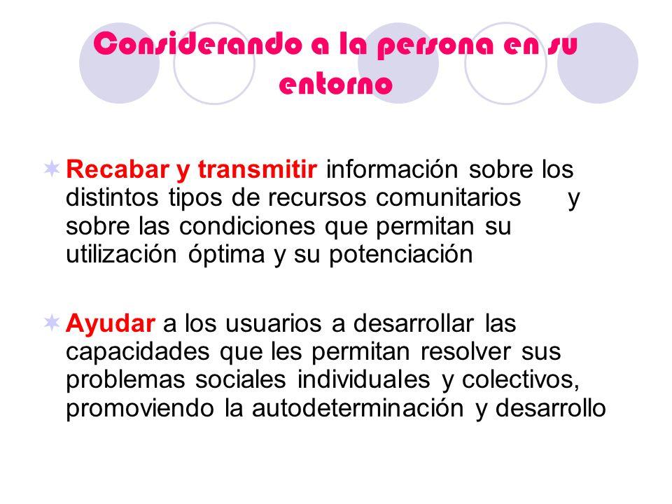 Considerando a la persona en su entorno Recabar y transmitir información sobre los distintos tipos de recursos comunitarios y sobre las condiciones qu