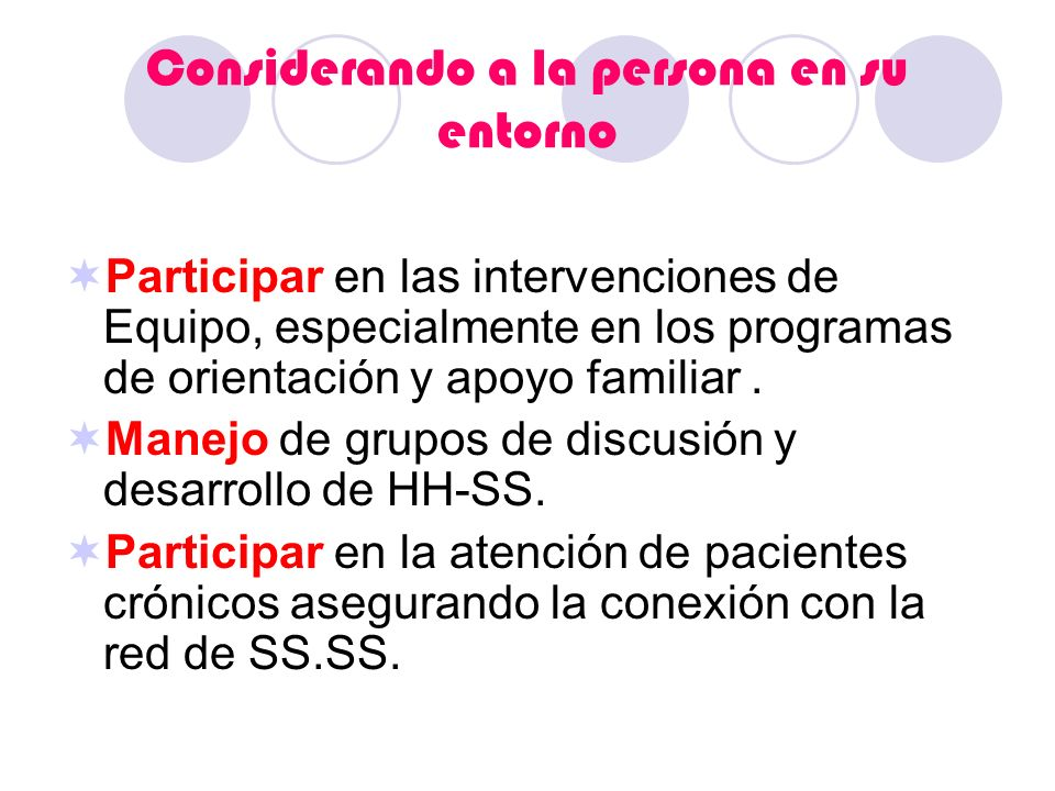 Considerando a la persona en su entorno Participar en las intervenciones de Equipo, especialmente en los programas de orientación y apoyo familiar. Ma