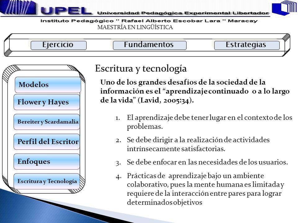 Escritura y tecnología Uno de los grandes desafíos de la sociedad de la información es el aprendizaje continuado o a lo largo de la vida (Lavid, 2005: