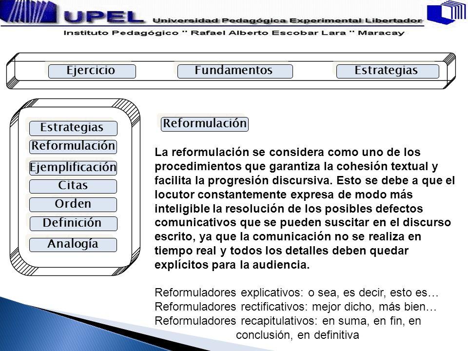 Ejercicio Fundamentos Estrategias Reformulación Estrategias Ejemplificación Citas Orden Definición Analogía Reformulación La reformulación se consider