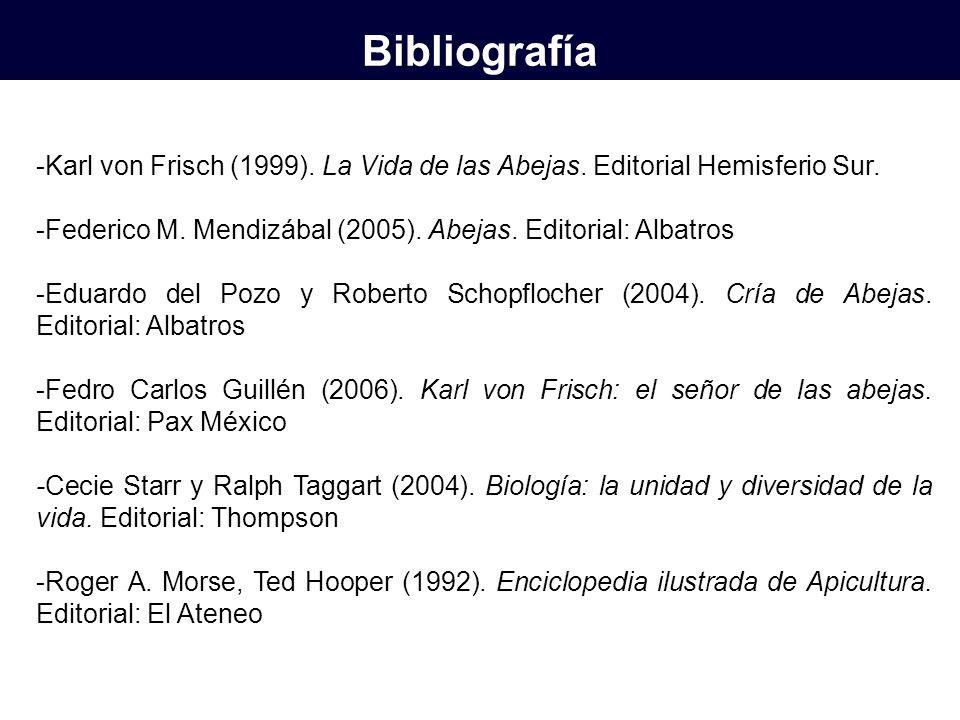 -Karl von Frisch (1999). La Vida de las Abejas. Editorial Hemisferio Sur. -Federico M. Mendizábal (2005). Abejas. Editorial: Albatros -Eduardo del Poz