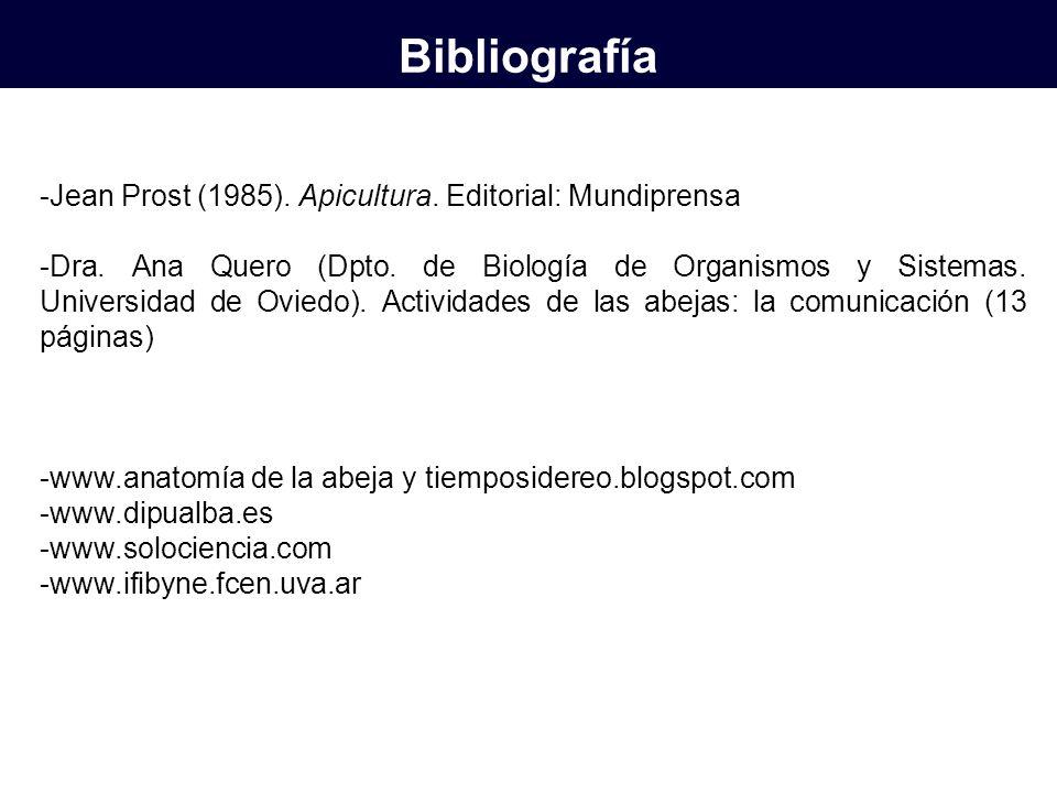 -Jean Prost (1985). Apicultura. Editorial: Mundiprensa -Dra. Ana Quero (Dpto. de Biología de Organismos y Sistemas. Universidad de Oviedo). Actividade