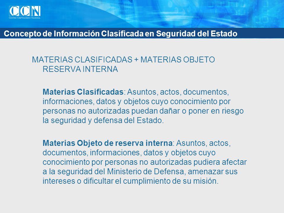 Concepto de Información Clasificada en Seguridad del Estado MATERIAS CLASIFICADAS + MATERIAS OBJETO RESERVA INTERNA Materias Clasificadas: Asuntos, ac