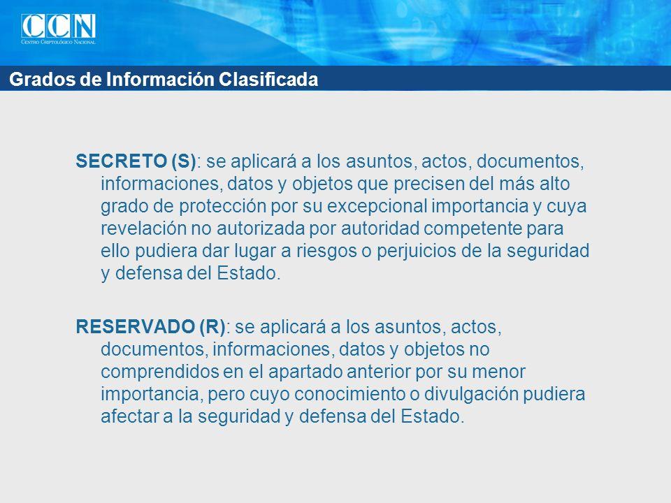 Grados de Información Clasificada SECRETO (S): se aplicará a los asuntos, actos, documentos, informaciones, datos y objetos que precisen del más alto