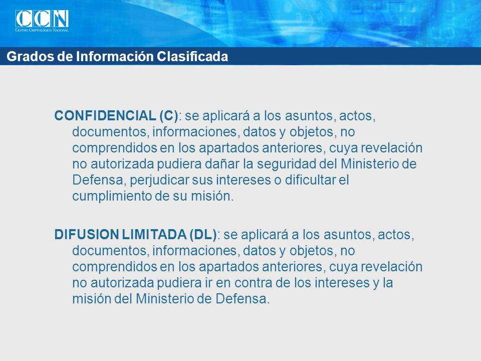 Grados de Información Clasificada CONFIDENCIAL (C): se aplicará a los asuntos, actos, documentos, informaciones, datos y objetos, no comprendidos en l