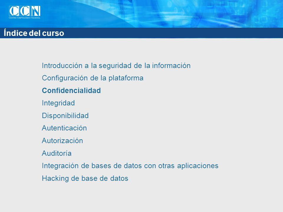 Índice del capítulo Cifrado de datos en tránsito SSL Otros mecanismos de cifrado Cifrado de datos en reposo