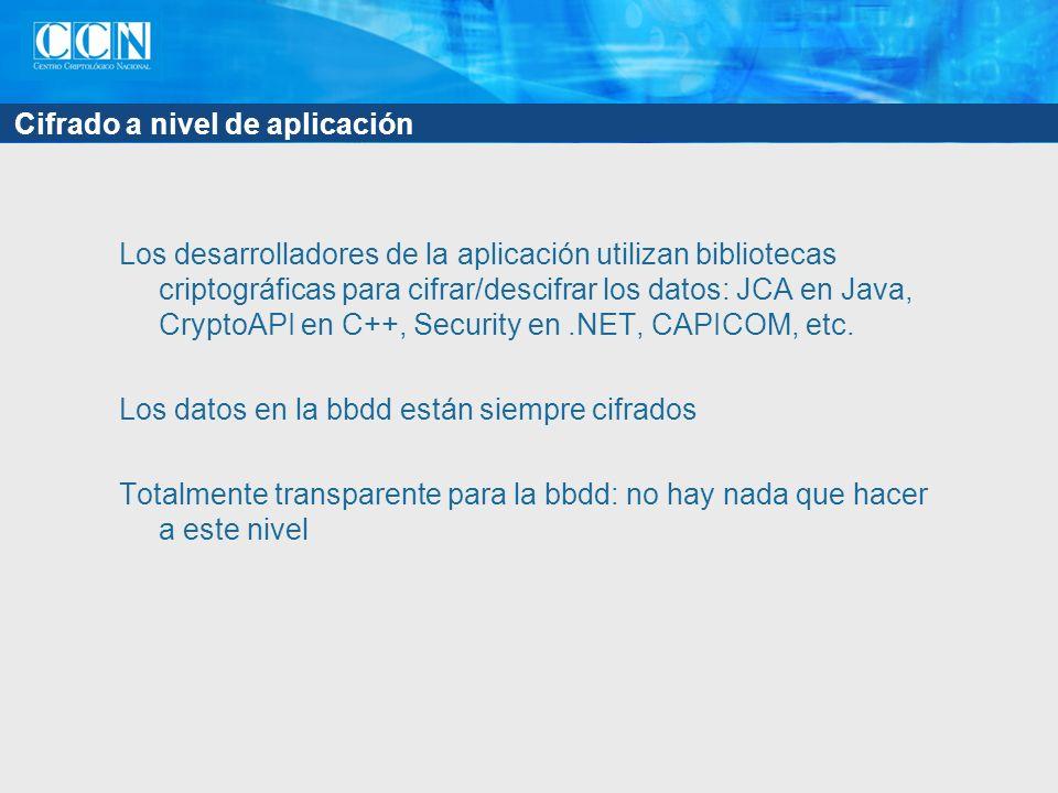 Cifrado a nivel de aplicación Los desarrolladores de la aplicación utilizan bibliotecas criptográficas para cifrar/descifrar los datos: JCA en Java, C