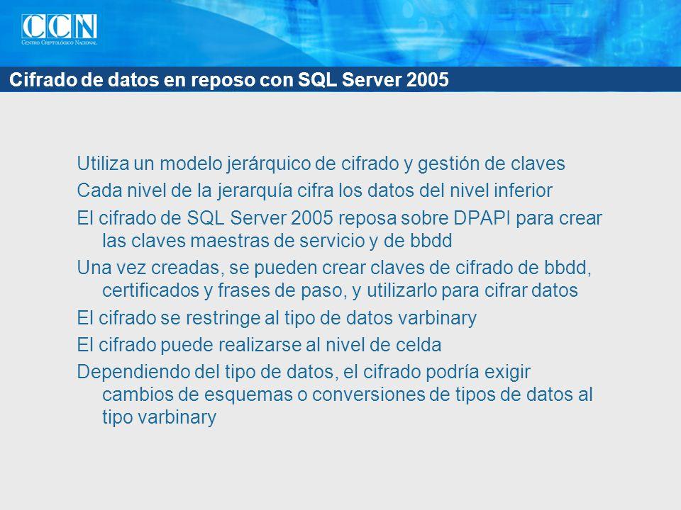 Cifrado de datos en reposo con SQL Server 2005 Utiliza un modelo jerárquico de cifrado y gestión de claves Cada nivel de la jerarquía cifra los datos