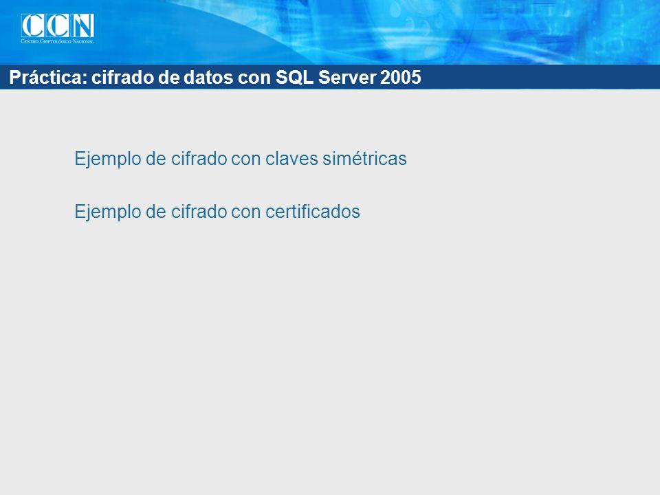 Práctica: cifrado de datos con SQL Server 2005 Ejemplo de cifrado con claves simétricas Ejemplo de cifrado con certificados