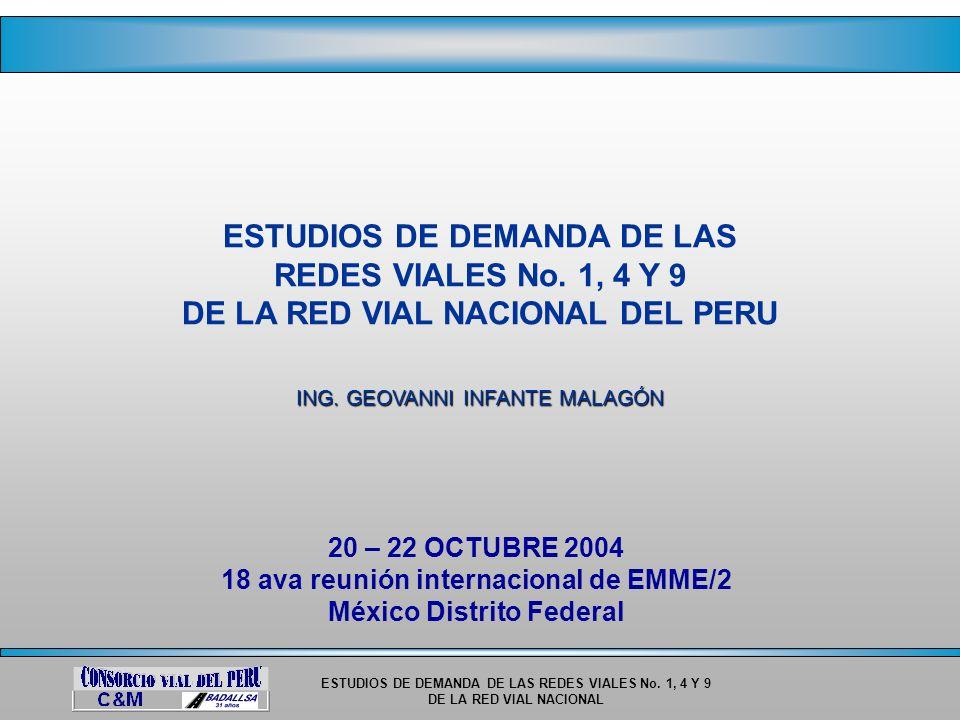 ESTUDIOS DE DEMANDA DE LAS REDES VIALES No. 1, 4 Y 9 DE LA RED VIAL NACIONAL ESTUDIOS DE DEMANDA DE LAS REDES VIALES No. 1, 4 Y 9 DE LA RED VIAL NACIO
