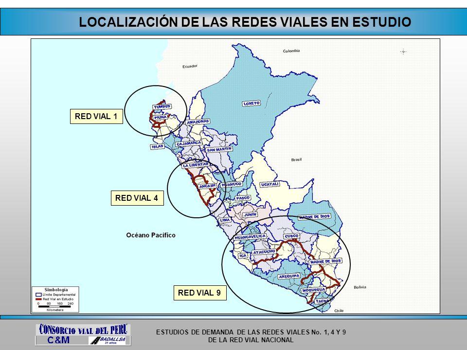 ESTUDIOS DE DEMANDA DE LAS REDES VIALES No. 1, 4 Y 9 DE LA RED VIAL NACIONAL LOCALIZACIÓN DE LAS REDES VIALES EN ESTUDIO RED VIAL 1 RED VIAL 4 RED VIA