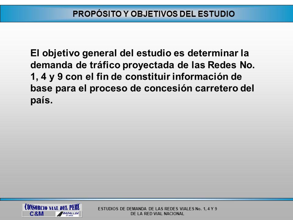 ESTUDIOS DE DEMANDA DE LAS REDES VIALES No. 1, 4 Y 9 DE LA RED VIAL NACIONAL PROPÓSITO Y OBJETIVOS DEL ESTUDIO El objetivo general del estudio es dete