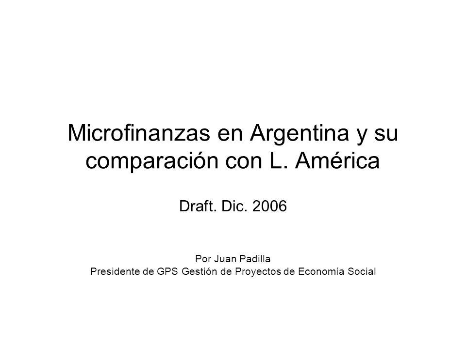 Microfinanzas en Argentina y su comparación con L. América Draft. Dic. 2006 Por Juan Padilla Presidente de GPS Gestión de Proyectos de Economía Social