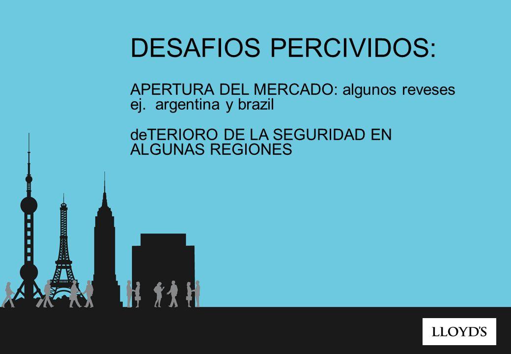 DESAFIOS PERCIVIDOS: APERTURA DEL MERCADO: algunos reveses ej. argentina y brazil deTERIORO DE LA SEGURIDAD EN ALGUNAS REGIONES